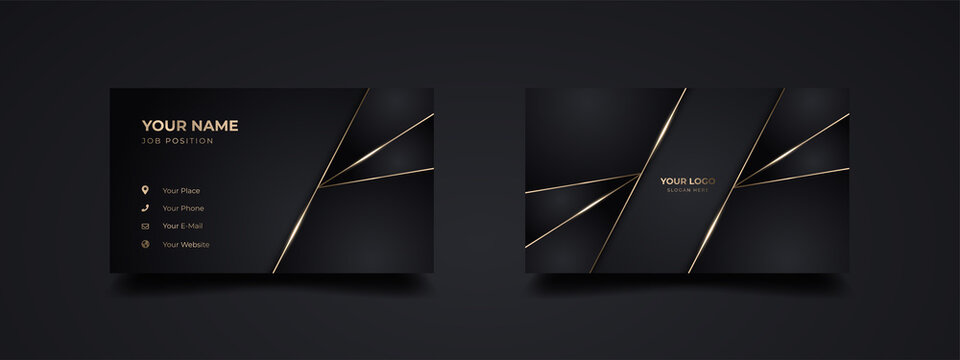 Luxury and elegant dark black business card design with gold style minimalist print template
