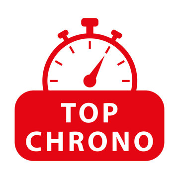 Top chrono. Red chronometer. Vector icon illustration.