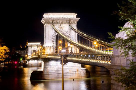 Chain Bridge over Danube river at night, Budapest, Hungary