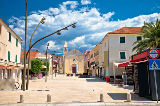 Town of Novalja central square view, Island of Pag