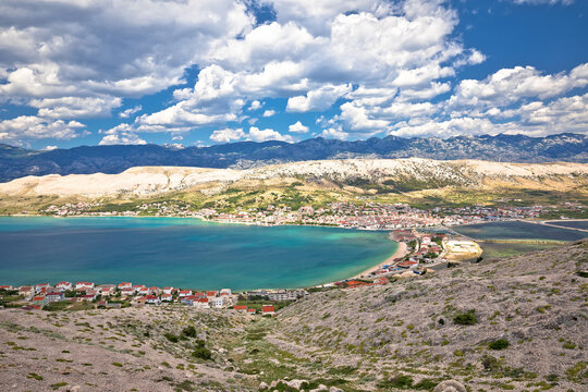 Town of Pag. Pag island bay and beach aerial view