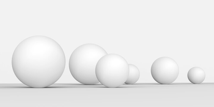 White spheres on white background.Studio background with geometric objects.3d illustration.