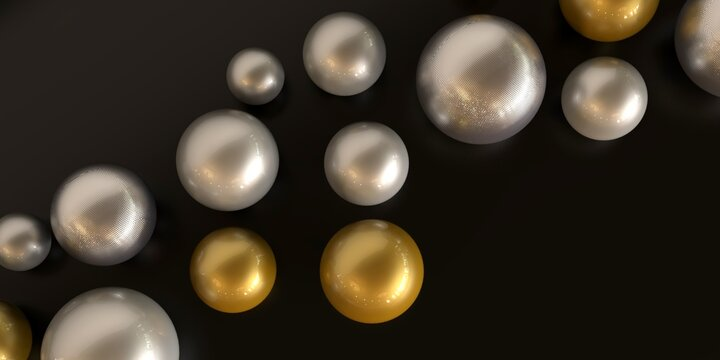 Black background with golden spheres.Banner with precious stones.Silver bubbles.3d illustration.