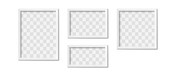 Obraz White picture frames. Empty gray simple image square border with shadow on gallery wall. Isolated photo framing design vector realistic 3D template with transparent place for image of different shape - fototapety do salonu