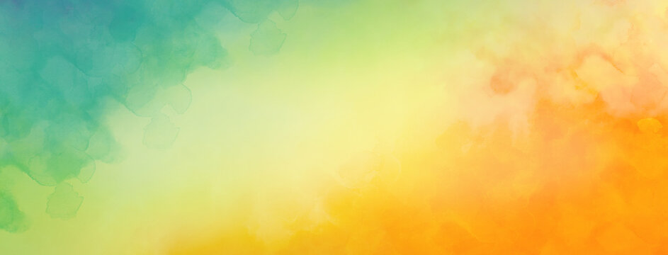 Colorful watercolor background of abstract sunset sky with paint blotches and soft blurred texture in blue green yellow beige and orange border in gradient paint colors