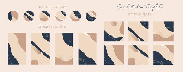 Wall Mural - Set of instagram stories and highlight stories icon with post template easily editable vector