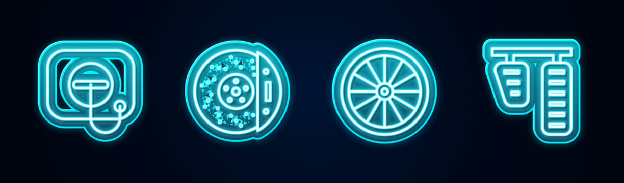 Set line Oil filler cap at gas station, Car brake disk with caliper, wheel and and pedals. Glowing neon icon. Vector.