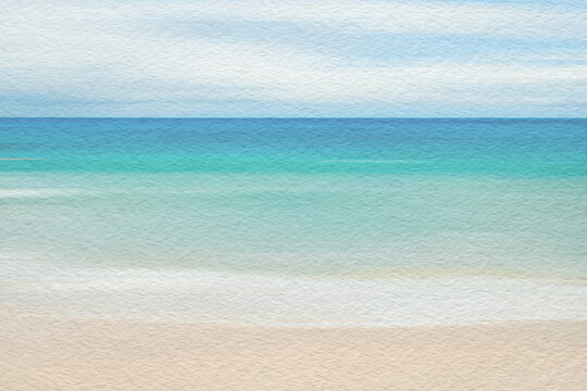 Sea and sandy beach abstract watercolour paint on texture paper background