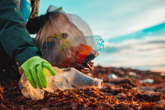 A worker in rubber gloes collects a plastic bottle on a beach. Hand close-up. The concept of Earth Day and ecology's problem