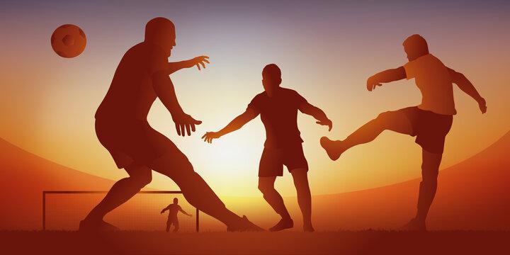 Action de jeu lors d'un match de football avec un défenseur qui frappe le ballon pour dégager son camp et empêcher les adversaires de marquer un but.