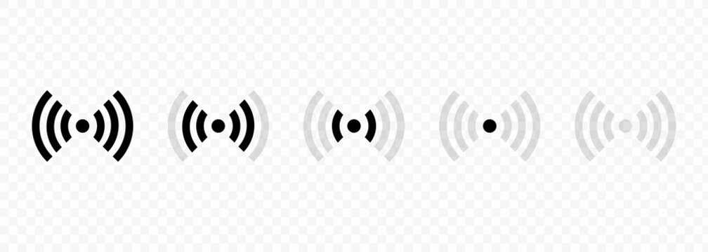 Set of Wi-Fi and wireless icons. WiFi zone sign. Internet connection wi-fi signal. Radio Waves Communication Symbols. Vector.