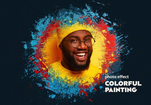 Colorful Painting Photo Effect Mockup