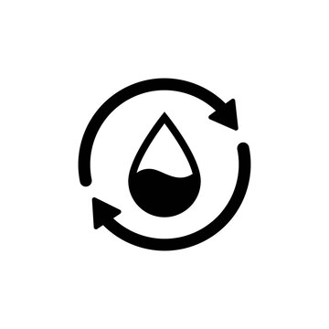 Recycle water icon. Water drop with 2 sync arrows. Single black round liquid recycle icon. Planet bio protection circle flat design