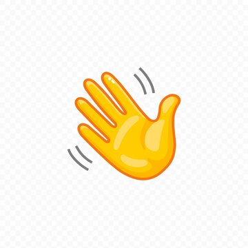 Hand waving. Hello welcome or goodbye gesture icon. Vector illustration.