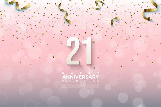 21st Anniversary with numbers and gold ribbon dropping.