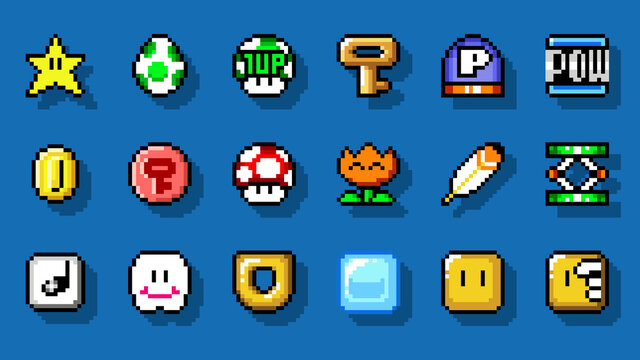 Set of items from Super Mario World classic video game, pixel design vector illustration