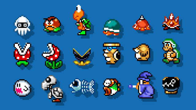 Set of enemies characters from Super Mario World classic video game, pixel design vector illustration