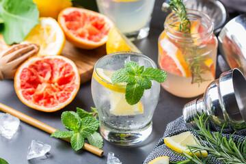 Hard seltzer cocktails with citrus fruits, zero waste bartenders accessories