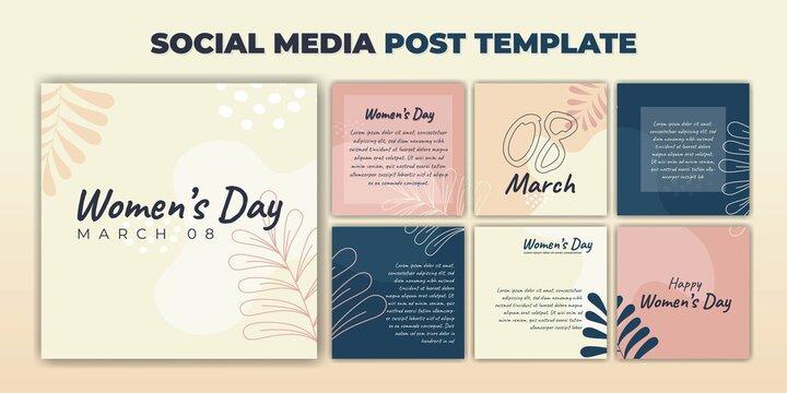 Social Media post template. International Women's Day banner design. Set of social media template with purple feminine design.