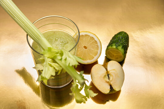 green vitality Smoothie with celery, cucumber, apple and lemon