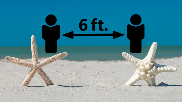 Ocean Beach rules Stay 6 feet apart and starfish. Spring or summer vacations. Mask Up Stop the spread of COVID-19. Coronavirus Quarantine isolation period. Florida beach closed or open.