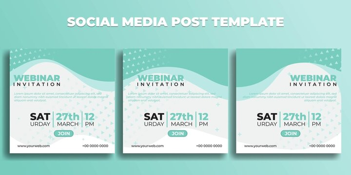 Set of Social media post template. Webinar invitation banner with white green design.