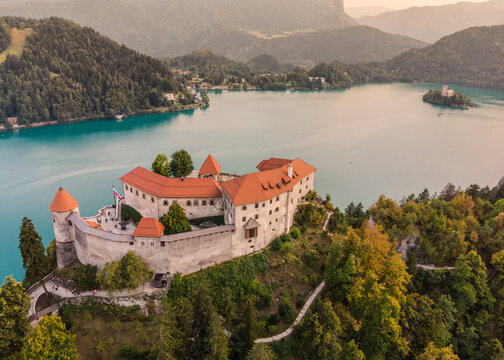 Aerial view of Lake Bled and the castle of Bled, Slovenia, Europe. Aerial drone photography.