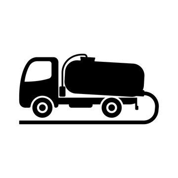 Waste disposal machine icon. Vacuum truck. Black silhouette. Side view. Vector flat graphic illustration. The isolated object on a white background. Isolate.
