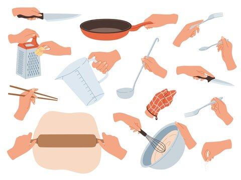 Hands preparing food. Cooking utensils in female hands, restaurant kitchen objects. Cutlery, culinary and baking accessories, knives and forks, rolling pin and whisk. Cartoon vector set