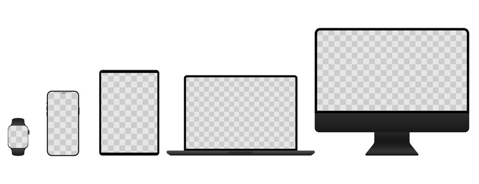 Realistic mockups of Apple devices on isolated background with transparent screens. Vector mockup of phone, tablet, laptop, computer and clock for your design. Vector EPS 10