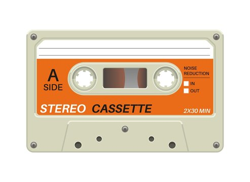Retro cassette. Audio equipment for analog music records. Blank stereo tape. Plastic musical device. Old-fashioned mixtape of tunes and songs. Vector multimedia tool with copy space