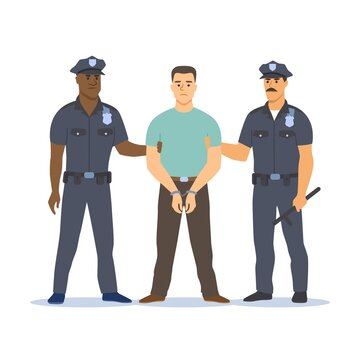 Two police officers of different skin colors arresting the criminal.