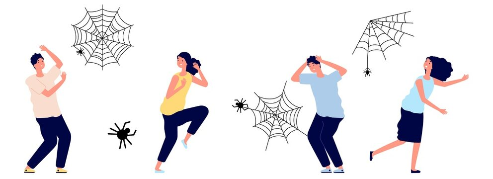 Arachnophobia. People irrational extreme fear spiders. Cobweb and insects, man woman in panic or stress, afraid vector characters. Arachnophobia and fear arachnid, phobia insect toxic illustration
