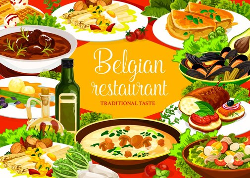 Belgian cuisine restaurant food, vector dishes of meat, vegetable and seafood. Beef stew carbonnade, beer bread and mussels, tuna salad, waffles and mushroom cream soup, Flemish asparagus and omelette