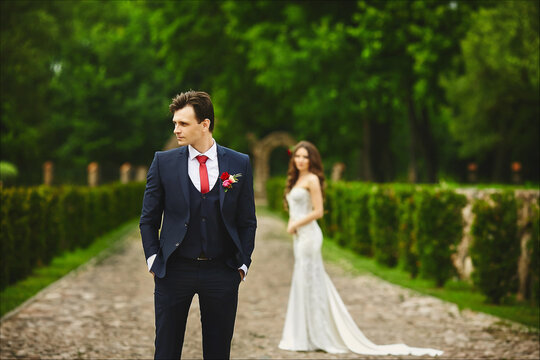Stylish groom waiting for the meeting with her bride. Couple before the wedding ceremony