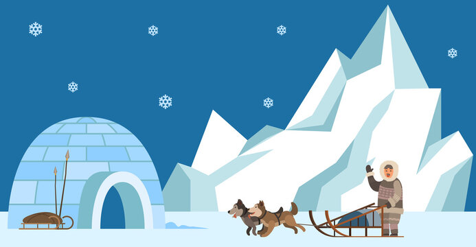 Eskimo harnesses dog for sleigh rides and waves his hand. Igloo indigenous person prepares to travel. Representative of eastern peoples lives in cold region. Man in Eskimo costume goes to igloo