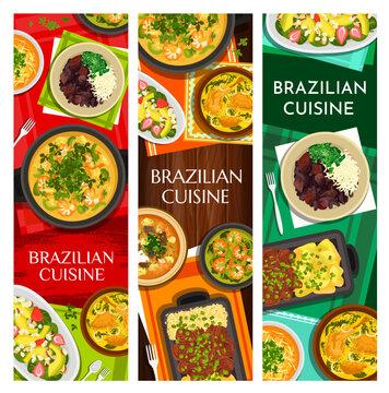 Brazilian cuisine vector meals corn chowder, black bean stew feijoada, beef stew picadinho de carne. Shrimp and chicken soup, seafood stew moqueca, avocado strawberry salad, beef steak with yuca fries