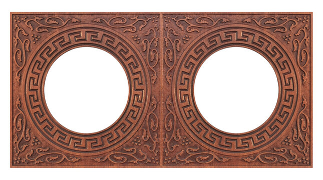 Double wooden frame (diptych) for paintings, mirrors or photos isolated on white background. Design element with clipping path
