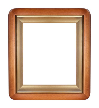 Wooden frame for paintings, mirrors or photo isolated on white background. Design element with clipping path