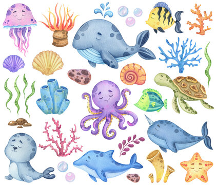 Watercolor set of marine animals and flora isolated on a white background. Children's illustrations of animal ocean for textiles, cards or prints