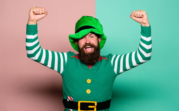 march 17th - saint patricks day. happy bearded hipster in green hat. christmas elf. happy celebration. cheerful man with beard have fun. ireland beer tradition. irish pub party. st patricks day