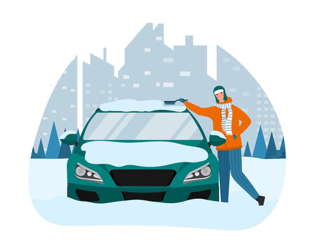 Male character is removing ice and snow from his car. Driver is standing and cleaning vehicle with brush from ice and snow at winter after night blizzard. Flat cartoon vector illustration