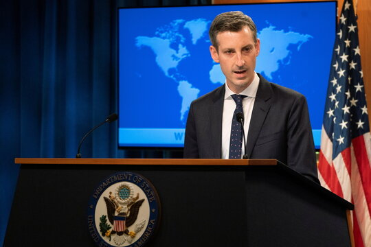 News conference at the State Department in Washington