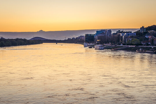 Evening view of Bratislava capital city over River Danube, Slovakia