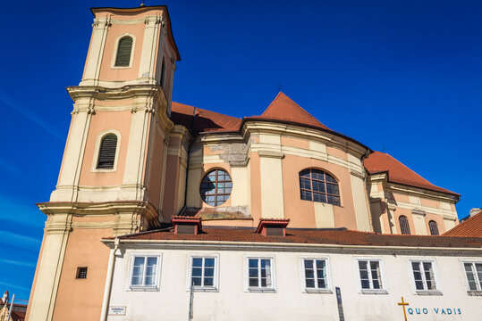 Exterior of Trinitarian Church in Bratislava capital city, Slovakia