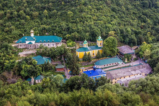 View from a hill above Holy Trinity Monastery in Saharna village, Moldova