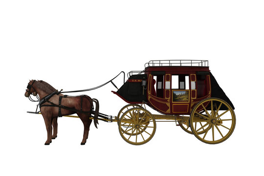 Wild west stage coach with two horses. 3D illustration isolated on white.