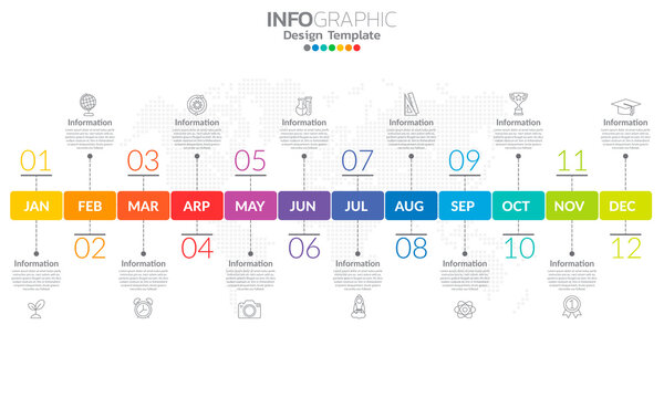 Timeline infographic template with 12 label, 12 months 1 year with steps and options.
