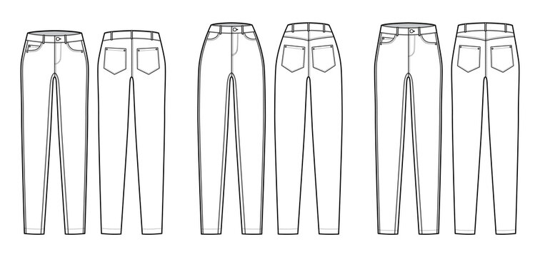 Set of Jeans tapered Denim pants technical fashion illustration with full length, normal low waist, rise, 5 pockets, Rivets. Flat bottom template front back, white color style. Women, men CAD mockup