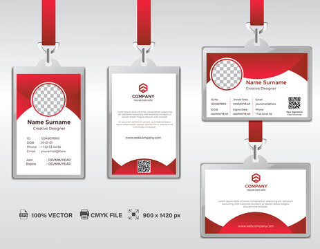 Corporate ID Card Design Template. Modern Horizontal and Clean Red Identity Cards with CMYK colors. Vector EPS
